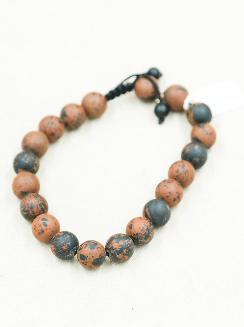 Men's Mahogany Obsidian w/ Sterling Silver Star Bracelet by Reba Engel