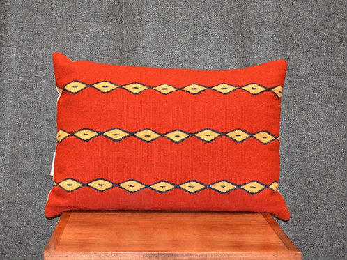 """Set of 2 Red and Yellow Barrel Zapotec Pillows - 16"""" X 24"""""""