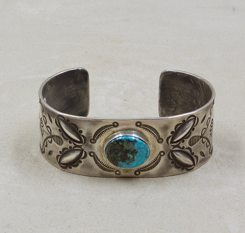 Sterling Silver Stamped w/ Stormy Mountain Turquoise Cuff by Red Rabbit Trading