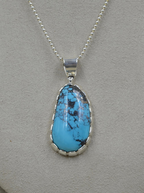 Natural Ithaca Peak Turquoise & S. Silver Pendant by JP Arviso