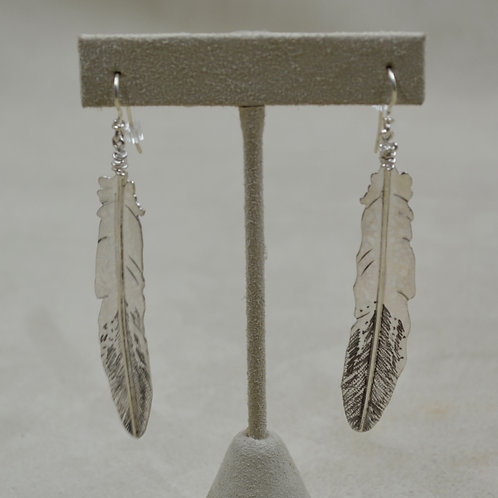 Sterling Silver Hand-forged Feather Wire Earrings by Tchin