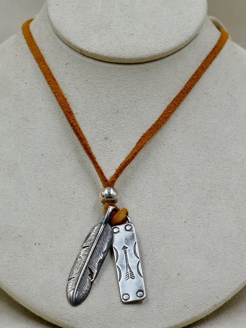 Sterling Silver Skinny Tag w/ SS Feather on Suede Necklace by Red Rabbit Trading