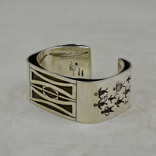 Sterling Silver 3 Layer Overlay Morse Code Cuff by Tchin