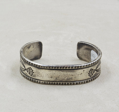 All Sterling Silver Heavy Ingot Stamped Cuff by Red Rabbit Trading