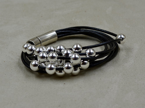 7 Strand Black Leather Bracelet w/ SS Beads by Sippecan Designs