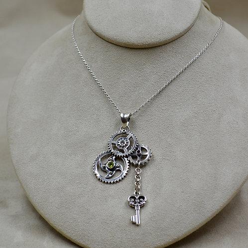 Steampunk Key w/ S. Silver, Peridot, Rhodochrosite Necklace by Michele McMilan