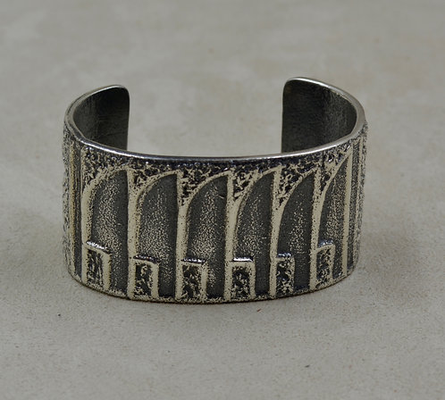 Sterling Silver Tufa Pottery Design w/ Feather Cuff by Erik Fender