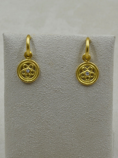 22k Gold, Diamond, Medieval Disc Charms (Drops Only) by Pamela Farland