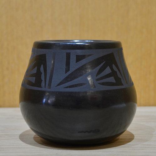 Medium Black on Black Pot - San Ildefonso Pueblo - by Cavan Gonzales