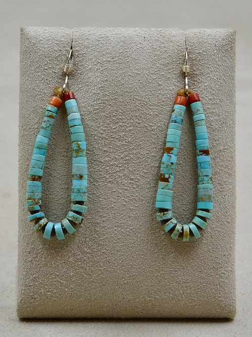 Medium Turquoise, Clam Jacla & Coral Wire Earrings by Kenneth Aguilar