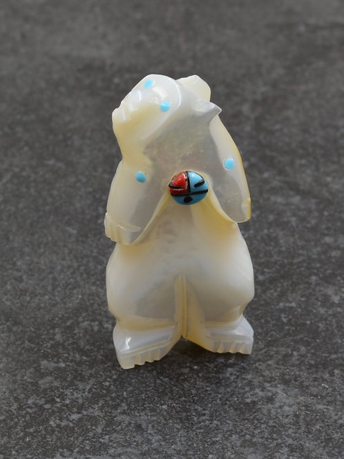 Bear Fetish - Mother of Pearl & Turquoise - by Danette Laate - Zuni
