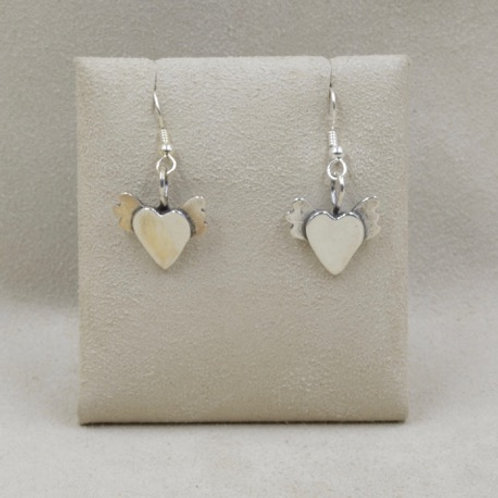 Sterling Silver Winged Hearts Earrings by Richard Lindsay