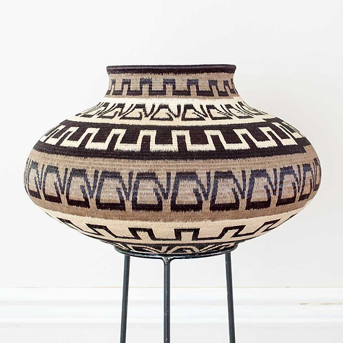 """Black and Gray Cultural Wounaan Basket by Lucina Puchicama - 15""""W x 9""""H"""