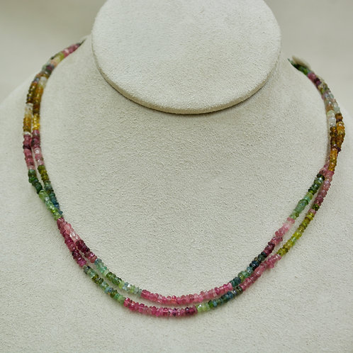 Double Mixed Tourmeline & Sterling Silver Faceted Necklace by Sanchi & Filia
