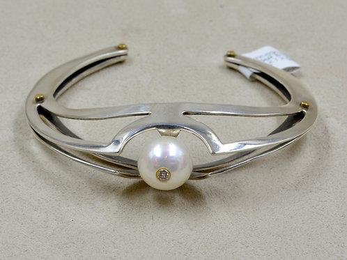 SS w/ 12mm White Freshwater Pearl & Diamond in 14k Tube Cuff by Reba Engel