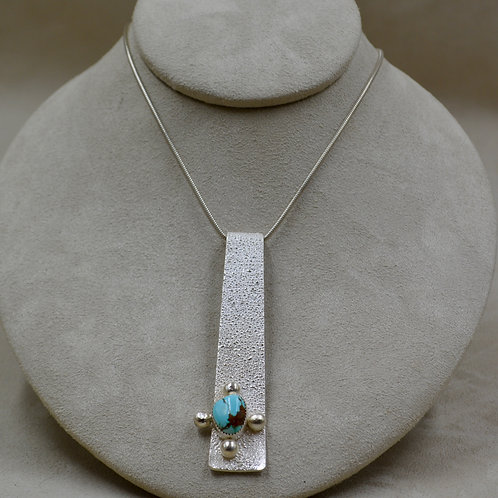 Royston Turquoise Reticulated Pendant on SS Chain by Jacqueline Gala