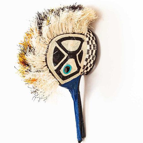 "Baby Blue Eyed Hummingbird Emberá Mask by Griceldina Isarama - 7""W x 8""H"