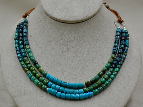 3 Strand Multi Turquoise Leather & S. Silver Necklace by Sippecan Designs