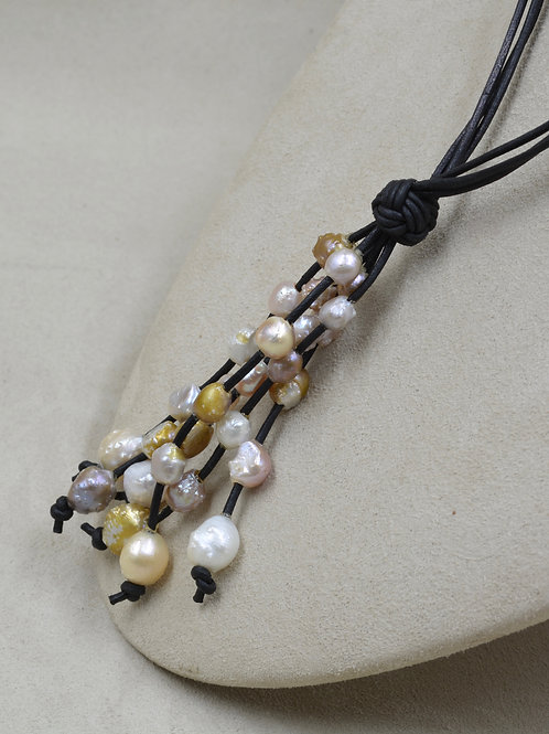 Cultured Freshwater Rosebud 10-11mm on Black Leather by US Pearl Co.