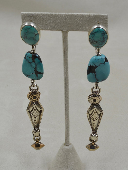 Chinese Turquoise & Sterling Silver Earrings by Melanie DeLuca
