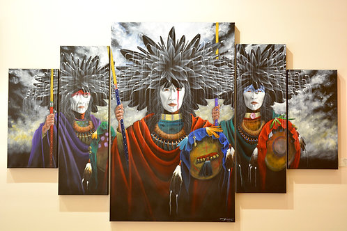 """""""They Call for Three"""" Pentaptych by Yellowman, Navajo"""
