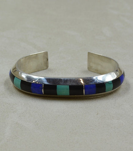 SS Channel Inlay w/ Lapis, Jet, Nat. Chinese Turquoise Cuff by Vincent Gioielli