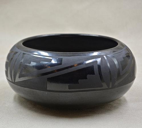 Larger Black on Black Bowl by Maria and Santana Martinez - San Ildefonso Pueblo