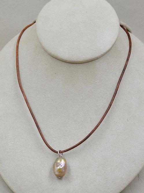 Freshwater Baroque Natural Pearl Necklace on Brown Leather by US Pearl Co.