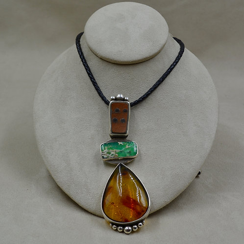 Multi-Stoned Leather & Sterling Silver Amber Necklace by Jerry Faires