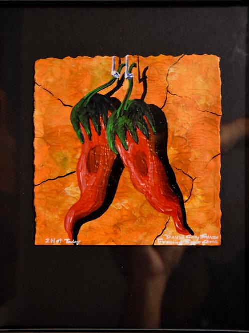 """""""2 Hot Today"""" Framed Acrylic on Handmade Paper by David Gary Suazo"""
