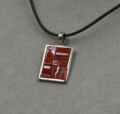 Sterling Silver Rectangular Coral Pendant by Dukepoo