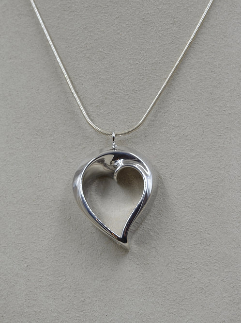 Large S. Silver Heart of Infinite Love Necklace by Charles Sherman