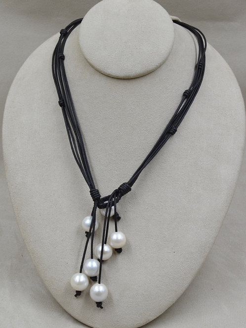 Yangtze White Pearls Necklace on Black Cord by US Pearl Co.