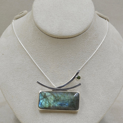 Labradorite & Tourmaline Pendant Necklace by Michele McMillan