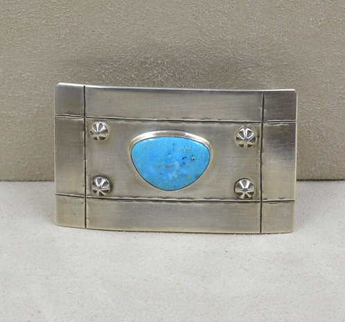 Natural Kingman Turquoise & Sterling Silver Buckle by Joe Glover