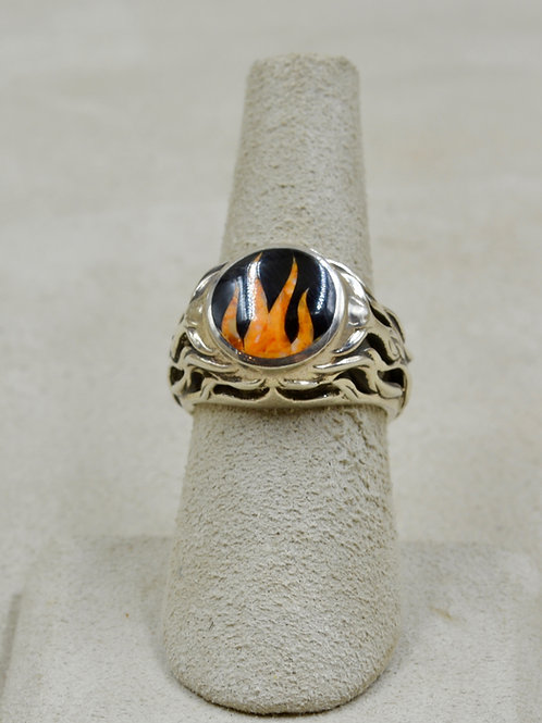 Flame 6x Ring w/ S. Silver w/ Black Jade, Spiny Oyster by GL Miller