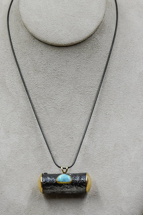 Boulder Opal, 18k, Reticulated Silver Necklace by Dave M Romero