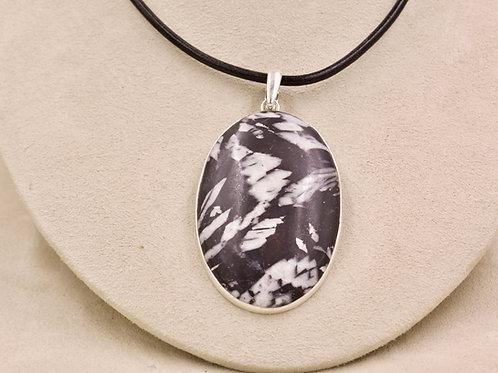 Large Oval Chrysanthemum Stone & Sterling Silver Pendant by Sanchi & Filia
