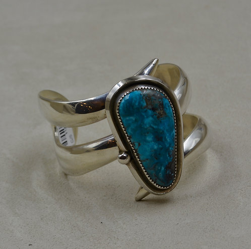 Modern Large Kingman Turquoise & Sterling Silver Cuff by James Saunders