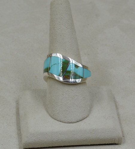 Sterling Silver Wave 9.5x Ring w/ Natural Royston Turquoise Inlay by Tim Busch