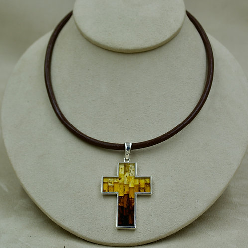 Amber Mosaic & Sterling Silver Large Cross Pendant by MTM Silver