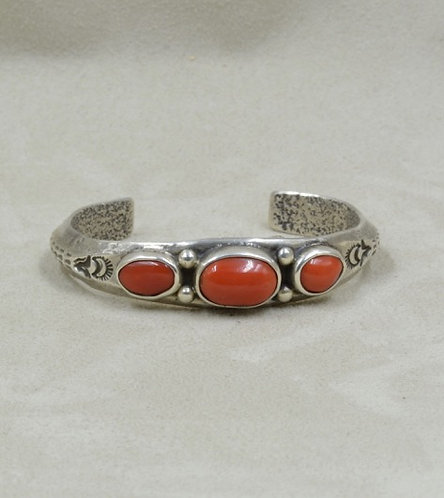 3 Stone Coral and Sterling Silver Cuff by Jerry Faires