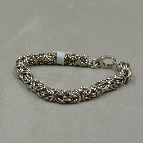 Handmade Sterling Silver Oxidized Chainmaille Bracelet by Tom Schaefer