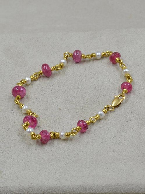 22k Gold, Spinel, Pearl, & 18k Clasp Bracelet by Pamela Farland