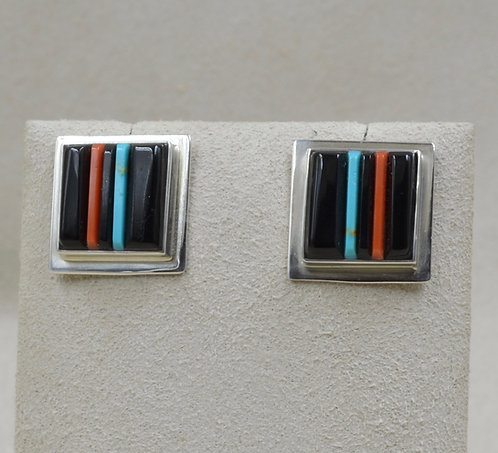 Cobble Orange Spiny Oyster, Jet, Lapis Large Square Earrings by Veronica