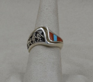 Sterling Silver, Coral & Turquoise Kokopelli Puzzle 6 1/4X Ring by Lente