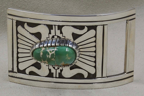 Sterling Silver Natural Royston Turquoise Buckle by Leonard Nez