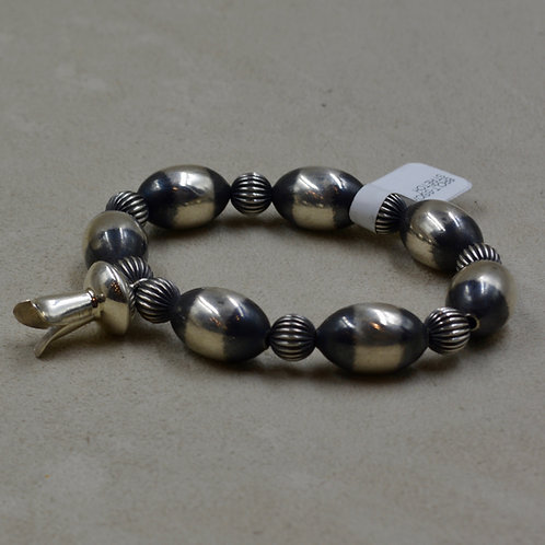 Oxidized Sterling Silver Ovals w/ Squash Blossom Bracelet by Shoofly 505