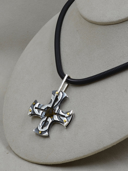 Etched Maltese Cross - Silver, Stainless Steel, Brass & Cognac Quartz Pendant