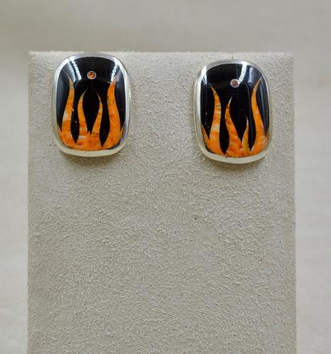 Flame Post S. Silver Earrings w/ Black Jade, Spiny Oyster, Opal by GL Mi